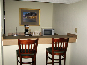 Motel breakfast bar and kitchenette